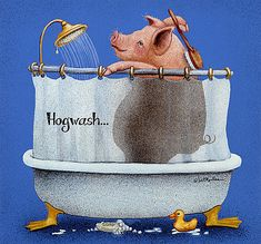 Will Bullas Painting - Hog Wash. by Will Bullas This Little Piggy, Little Pigs, Wood Pig, Funny Animals, Cute Animals, Farm Animals, Happy Pig, Pig Crafts, Teacup Pigs