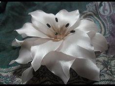 Цветы из лент Лилия канзаши мастер класс своими руками Flowers kanzashi master class DIY - YouTube