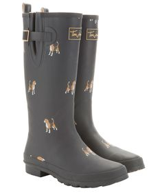 These remind me of you @Bhreigh Gillis  Joules Beagle Print Wellies in Navy   $61.00