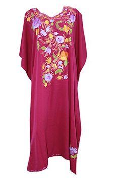 Odishabazaar Kaftan Tunic Ari Embroidered Silk Caftan Dress for Women XXXL   Amazon.co.uk  Clothing 7385ecf49