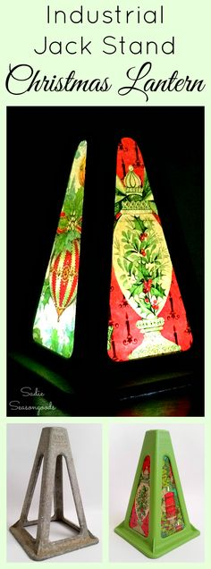 What do you do when you have just ONE vintage camper jack stand? You turn it into a festive Christmas Lantern with the help of some vintage holiday gift wrap / wrapping paper! It makes a fantastic luminary and looks different from each angle. Fun upcycling and repurposing Christmas DIY craft project from #SadieSeasongoods