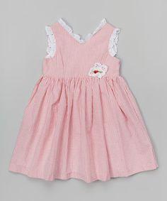 Look at this #zulilyfind! Red & White Stripe Lace Trim Dress - Toddler & Girls #zulilyfinds