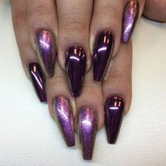 40 Beautiful Long Acrylic Chrome Nails By adding the chrome powder, you can easily turn your acrylic into mirrored chrome nails. Here are some beautiful long chrome nails ideas for you. Pick one and make it now! Nail Art Designs, Colorful Nail Designs, Fabulous Nails, Gorgeous Nails, Trendy Nails, Cute Nails, Hair And Nails, My Nails, Nagel Hacks