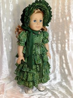 RESERVED 1812 green dress and bonnet for by DollSizeDesigns