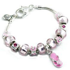 Pandora compatible Pink Sandal Charms with Pink Murano Glass Beads Charm Bracelet JewelryMiu Charms. $29.99. Save 57% Off!