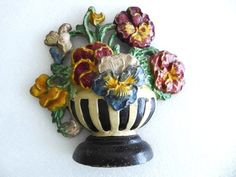 Rare all original antique 1940 cast iron doorstop, Hubley 256 Pansy Bowl flowers #Americana #Hubley
