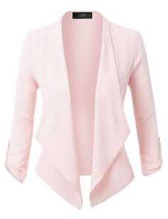 Sharpen your wardrobe with this open front ruched 3/4 sleeve blazer jacket. A softly draped open-front silhouette softens the look while the asymmetrical hem adds a modern touch to this blazer. This blazer is perfect for either professional environment or for casual wear. Feature  100% Polyester Lightweight, ultrasoft material for comfort Draped front / Asymmetrical hem 3/4 Ruched sleeves with button tab / No closure Dry clean only / Do not bleach / Do not iron P...