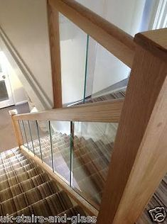 Embedded Glass and Oak Balustrade - Refurbishment Kit Staircase and Landing Interior Wood Shutters, Interior Railings, Interior Walls, Kitchen Interior, Home Interior Design, Glass Stairs, Wood Stairs, House Stairs, Oak Furniture Land