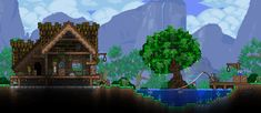 Nothing is impossible in this action-packed adventure game. The world is your canvas and the ground itself is your paint. Terraria House Design, Terraria House Ideas, Terraria Tips, Best Titles, Biomes, Minecraft Buildings, Animal Crossing, Concept Art, Aquarium