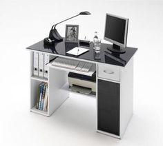 Max White Finish Computer Desk With Dark Grey Glass Top Computer Table Price, Computer Desk Design, Top Computer, Office Workspace, Office Table, Kids Corner Desk, Study Table Designs, Pc Table, Studio Desk