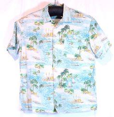 Lucky Brand By Dale Hope Hawaiian Camp Island Loud Shirt Outrigger XL Multi-Colo #LuckyBrand #Hawaiian