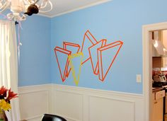 """Alex Menocal The Number of People Seemed to Diminish, vinyl paint, 72""""x42"""", 2011.  Spartanburg, SC."""