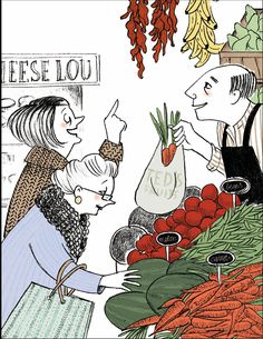 grandmas at the market Marketing, Carrots, Beans, Pencil, Scene, Graphic Design, Texture, Fruit, Comics