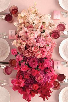 Ombre flowers as table centerpiece!