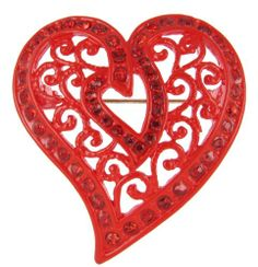 Arabesque Love Swirls Red Heart Pin $9.99