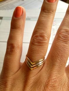 Triple chevron ring, two-tone.