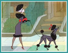 From the original 101 Dalmations-interesting cut on the Poodle-don't think I have seen that one in the books Poodle Grooming, Dog Grooming, French Poodles, Standard Poodles, Mini Poodles, Poodle Cuts, Modern Books, Film D'animation, Illustrations