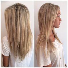 Creamy blonde highlights. Hair by Tom