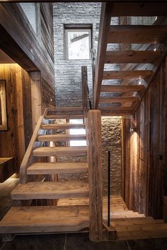 décoration megève nouvellement plus Chalet Design, Chalet Chic, Chalet Style, Chalet Interior, Rustic Stairs, House Stairs, Staircase Design, House In The Woods, Log Homes