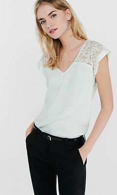 lace yoke and back silky rolled sleeve blouse