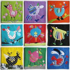 6 x 6 inch Wonky Bird Mug Rugs Bird Applique, Applique Patterns, Applique Quilts, Applique Designs, Embroidery Applique, Quilt Patterns, Quilt Baby, Small Quilts, Mini Quilts