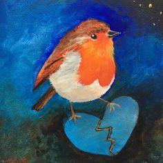 roodborstje / troostvogeltje lijmt gebroken hart Bird, Animals, Painting, Animales, Animaux, Birds, Painting Art, Animal, Paintings