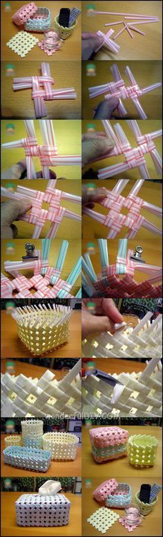 basket from drinking straw m.w Wonderful DIY Creative Drinking Straw Basket