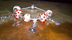 Happy Easter! easter themed charm bracelet with 925 stamped Murano glass beads by PetitechicboutiqueGB on Etsy