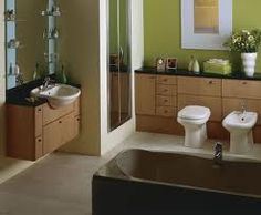 "TLC Home ""Bathroom Design Idea: Modern Art"" - interesting use of cabinetry behind the toilet and bidet, that may extend to a sink on the same wall. Toilet And Bathroom Design, Bathroom Designs, Contemporary Toilets, Washroom, House Rooms, Corner Bathtub, My Dream Home, Cool Stuff, Sink"