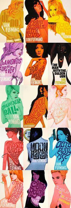 Cover artwork for Penguin books 2008 James Bond paperback series by contemporary artist & designer Michael Gillette.
