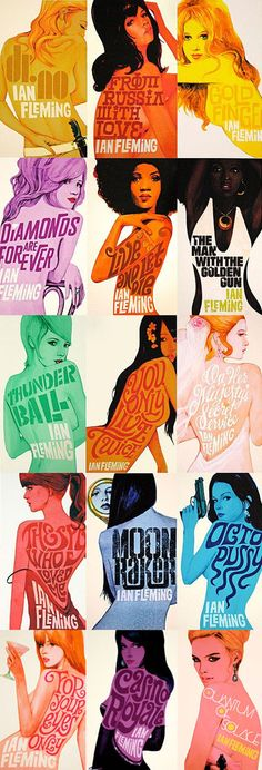Cover artwork for Penguin books 2008 James Bond paperback series by contemporary artist & designer Michael Gillette.