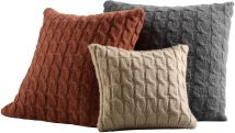 The Winter Harbor Pillow from the Bill Sofield Collection is a rich blend of mohair woven in a sweater-soft, cable tweed separated by a tight ribbed knit design.