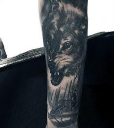 Black Ink Wolf And Deer Mens Tattoos