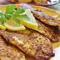 Cajun Style Blackened Snapper - Fillets of red snapper are coated with a mixture of pepper and herbs, then cooked at high heat until the coating blackens. Spicy and delicious! A spicy red snapper dish. Fish Dishes, Seafood Dishes, Fish And Seafood, Seafood Recipes, Cajun Recipes, Main Dishes, Cajun Food, Yummy Recipes, Seafood Menu
