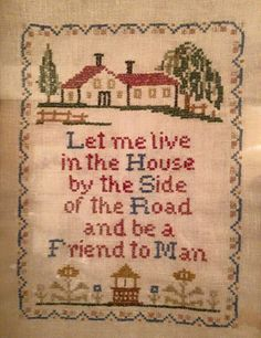 1940s-era, posted by a Colorado news guy. His grandma made it. Love the saying.