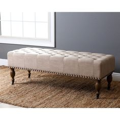 The Abbyson Dixon Wheat Linen Rectangle Ottoman Bench adds elegance and sophistication to your entryway, living room, or bedroom. A tufted top,. Vintage Bench, Ottoman, Ottoman Bench, Furniture, Abbyson Living, Leather Furniture, Storage Ottoman, Bed Bath And Beyond, Vintage Linens