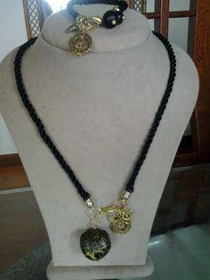 Necklace in black silk cord