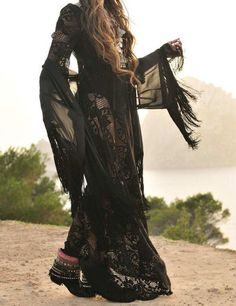 Black V-Neck Sheer Lace Tasseled Maxi Dress