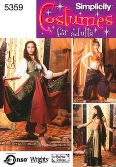 Womens Belly Dancing Costume Sewing Pattern 5359 Simplicity Would be great for a gypsy costume - maybe for Hunchback of Notre Dame