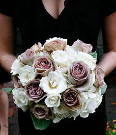 Bridesmaid bouquet vintage in feeling: Majolica Spray Roses, Amnesia Roses, Lambs Ear Leaves and white Hydrangea. Hydrangea Bridesmaid Bouquet, Wedding Bouquets, Wedding Flowers, Mauve Wedding, Floral Centerpieces, Wedding Centerpieces, Trendy Wedding, Dream Wedding, Wedding Ideas