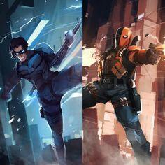 Slade X Nightwing Dc Comics Nightwing Costumes, Nightwing Cosplay, Nightwing And Starfire, Batman Vs, Nightwing Wallpaper, Nightwing Young Justice, Dick Grayson Batman, Héros Dc Comics, Batgirl