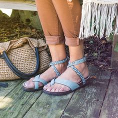 9bdb16ae811 Add some boho flair to your summer wardrobe with our MUK LUKS  Estelle flat  thong sandals. With a braided wrap around ankle strap and toe loop detail