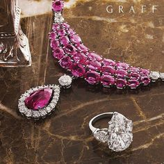 Graff Diamonds _ Exceptional Stones The Graff aesthetic is very distinctive - each jewellery piece is beautifully classic with stone-led design playing an important role.  This incredible necklace showcases 90 exquisite pink sapphires totalling over 80 carats and including a 10 carat pink sapphire centre stone, complemented by 11.83 carats of white diamonds.