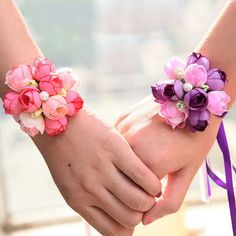 1 Pcs Rose Wrist Corsage Bridesmaid Sisters hand flowers Artificial Bride Flowers For Wedding Party Decoration Bridal Prom Bridesmaid Bracelet, Bridal Bracelet, Flower Bracelet, Wrist Flowers, Prom Flowers, Wedding Flowers, Purple Wedding, Corsage And Boutonniere, Boutonnieres