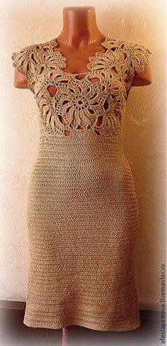 Vestidos hechos a mano.  Masters Feria - hecho a mano.  Comprar vestido de oro.  Hecho a mano.  Oro, Vestido de cóctel, Vestido para la figura