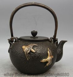 "9"" Archaic Japanese Iron Silver Bird Eagle Portable Kettle Wine Tea Pot Flagon"