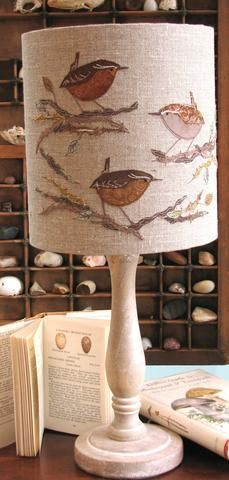 hand appliqued and embroidered Lampshade - Wren with branch and leaf detail, by Dear Emma designs Fabric Painting, Fabric Art, Diy And Crafts, Arts And Crafts, I Love Lamp, Free Motion Embroidery, Lamp Shades, Fiber Art, Decoration