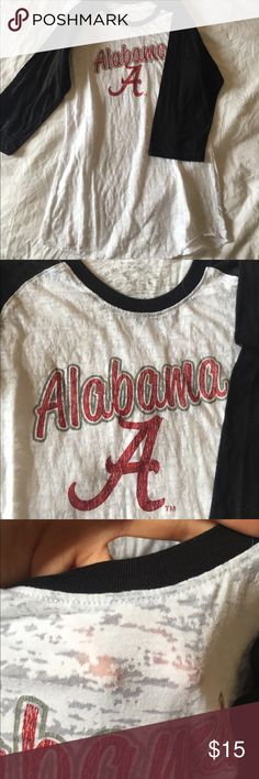 Bama Burnout Baseball Tee Super cute baseball style raglan. Burnout allover makes this see through. Alabama and classic A on front. Worn maybe 2 times. Tops Tees - Long Sleeve