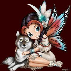Animazione ragazza elfo con ali di farfalla e piume tra i capelli abbraccio lupo