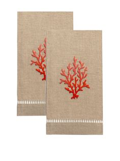 Henry Handwork Set of 2 Red Coral French Knot Hand Towels, Natural at MYHABIT